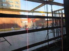 IMG_9918 (Brechtbug) Tags: sixth floor rising 350 352 now be building 2019 midtown manhattan 45th street near times square nyc 11152019 new york city cube architecture traffic transit car cars auto lots steel beams beam red brick wall green shed park brownstone 1920s apts apartment house apartments construction fence november working 6th