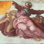 42d Микеланджело. Плафон Сикстинской капеллы. Творение светил, 1511