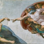 42c Микеланджело. Плафон Сикстинской капеллы. Сотворение Адама. 1508-12
