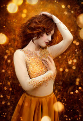Elyse ({jessica drossin}) Tags: jessicadrossin portrait face light bokeh fantasy woman dress alora safari red hair head profile wwwjessicadrossincom yellow beads