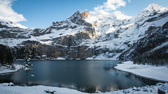 Oeschinen Lake, Switzerland (throzen) Tags: switzerland swiss alps alpine trees mountain mountains hill hills rocky rockies europe landscape nature outside outdoors peaks view views cloud hiking winter scenic scenery photography dslr canon eos 70d lake blue glacial glacier snow snowy beauty beautiful