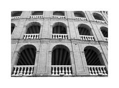 Valencia 39 (BLANCA GOMEZ) Tags: spain valencia bw blackwhite light shadows textures shapes silhouettes architecture arquitectura arquitectos sebastiánmonleónestellés neoclassical neoclásico neomudéjar plazadetorosdevalencia plazadetoros toros bullring bullfighting windows terraces tendidos bricks