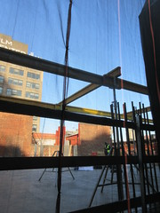 IMG_9925 (Brechtbug) Tags: sixth floor rising 350 352 now be building 2019 midtown manhattan 45th street near times square nyc 11152019 new york city cube architecture traffic transit car cars auto lots steel beams beam red brick wall green shed park brownstone 1920s apts apartment house apartments construction fence november working 6th