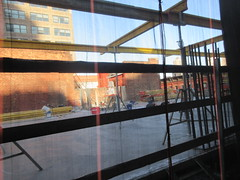 IMG_9917 (Brechtbug) Tags: sixth floor rising 350 352 now be building 2019 midtown manhattan 45th street near times square nyc 11152019 new york city cube architecture traffic transit car cars auto lots steel beams beam red brick wall green shed park brownstone 1920s apts apartment house apartments construction fence november working 6th