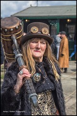 Steampunk. (Adrian Walker.) Tags: elements steampunks beamish people costume hammer woman canon80d tamron hat goggles