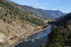CP 8720 + CEFX 1037 Spences Bridge, British Columbia (Dennis Kraus) Tags: cp 8720 cefx 1037 es44ac canada canadian pacific spences bridge british columbia thompson river freight train güterzug container