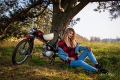 Sara (Michał Banach) Tags: komar moped nikond850 prl poland polska rogalin rogalinlandscapepark rometkomar sigma40mmf14dghsmart autumn beautiful beauty female girl polishgirl portrait portret sun tree trees woman mosina greaterpolandvoivodeship