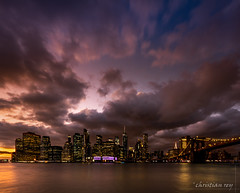Manhattan at end of day (USA) (christian.rey) Tags: manhattan nyc newyork city sunset brooklyn cityscape sky clouds sony alpha a7r2 a7rii 1635 longuepause longerexposure eastriver dumbo bridge
