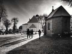 In the autumn sun (wojciechpolewski) Tags: church sacral blanconegro blackwhite blackandwhite schwarzweis nature streetsnap streetexplorer countryside poland wpolewski architecture backlight sky sunlight trees shadows photos photo