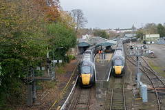 GWR Class 802s pass at Yeovil Pen Mill (philwakely) Tags: iep iet diesel dieselmultipleunit dmu class802 class800 hitachi gwr greatwesternrailway greatwestern firstgreatwestern first trains train railway railways rail yeovil yeovilpenmill raildiversions
