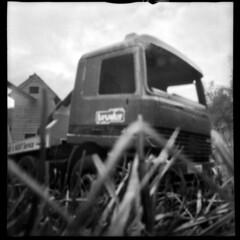 2522 Sand Pit Truck. (Monobod 1) Tags: lomo dianaf pinhole lensless ilford hp5 rodinal epsonv800 bw