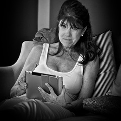 Pam (Jack Blackstone) Tags: archive sidelit pam spouse woman mature monochrome blackandwhite sensual availablelight canon5dmkii 2013 portrait casual candid
