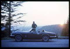 1978 West Virginia (Robert Drozda) Tags: westvirginia monongahelanationalforest blackwatercanyon triumphtr6 triumphspitfire sportscar 2seater person tree road sunset kodakcolortransparency 35mmslide minoltasrt film drozda