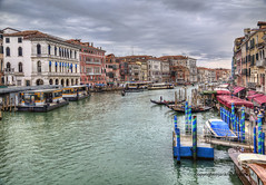 Canal Grande (Jan Kranendonk) Tags: boats ferry vaporetto bollards poles restaurants cafe cafeteria canal grande venice italy italian europe european water architecture buildings mansions palazzo people sky clouds cloudy quay waterfront river historical hdr jetty jetties gondolas