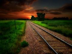 The tracks 17 (Bill Tanata) Tags: landscape rural prairie railroad tracks grass field sky sunset outdoors country countryside photoart northdakota