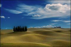 Standing together (angelofruhr) Tags: toskana tuscany pienza mattina valdorcia bäume zypressen landschaft hügel wolken clouds hills abre trees italy italien italia