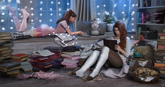 """Good friends, good books, and a sleepy conscience: this is the ideal life."" (meriluu17) Tags: book books foxcity deaddollz sisters friend friends reading spot cozy librarry sweater warm cat kitten animal light lights night evening company life people"