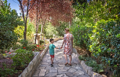 ~ Who cares for destination when journey is with family ~ (Ranveig Marie Photography) Tags: mom son people israel jerusalem oldcity path walking gardentomb garden