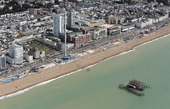 Brighton seafront & the burnt out remains of the old West Pier - aerial image (John D Fielding) Tags: brighton pier westpier coast coastal coastline seafront beach seaside eastsussex sussex above aerial nikon d810 hires highresolution hirez highdefinition hidef britainfromtheair britainfromabove skyview aerialimage aerialphotography aerialimagesuk aerialview viewfromplane aerialengland britain johnfieldingaerialimages fullformat johnfieldingaerialimage johnfielding fromtheair fromthesky flyingover fullframe cidessus antenne hauterésolution hautedéfinition vueaérienne imageaérienne photographieaérienne drone vuedavion delair birdseyeview british english britishairwaysi360 hiltonbrightonmetropole thegrandbrighton brightoncentre odeonbrighton