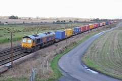 Tees Trader (JohnGreyTurner) Tags: br rail uk railway train transport colton york yorkshire diesel engine locomotive gbrf freight intermodal 66 class66 shed