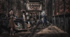 No Pictures (brian_stoddart) Tags: old car glamour people vintage nightime cinema buildings atmospheric photographer press composite paparazzi