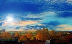 A little bit autumn (verawald) Tags: autumn herbst village dorf landscape landschaft trees bäume colorful bunt felder fields idyllic idyllisch sky himmel dramatic dramatisch sun sonne season jahreszeit