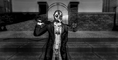 """ One May Smile, And Smile, And Be a Villain "" (maka_kagesl) Tags: secondlife sl second life game virtual videogame villain grey bw blackwhite photography portrait photo picture pose pic posing umbrella gate wall mask cosplay costume doctor"
