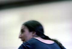74-314 (ndpa / s. lundeen, archivist) Tags: nick dewolf nickdewolf color photographbynickdewolf 1975 1970s film 35mm 74 reel74 autumn fall cambridge massachusetts dance rehearsal dancerehearsal people dancing dancer rehearsing woman youngwoman unitard brunette ponytail studio dancestudio