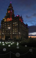 0369  © Kevin A Urquhart  Photography (ElitePhotobox2) Tags: liverpool festival light display globoscobe artist collectif coin the would pulse move patterns with sound being played parish church royal liver building background lit up colourful linux krita