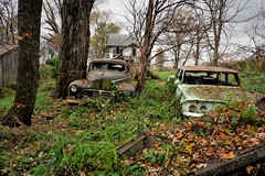 Down on the farm...(old television house) (Aces & Eights Photography) Tags: abandoned abandonment decay ruraldecay oldhouse abandonedhouse abandonedillinois oldcar abandonedcar