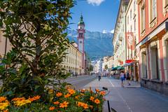 The Old Town of Innsbruck (mandyhedley) Tags: innsbruck oldtown city austria tirol flowers mountains landscape cityscape clocktower summer