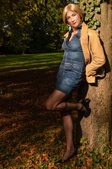 Marly (magda-liebe) Tags: tgirl french leather jean minidress stockings marly outdoor genderfluid