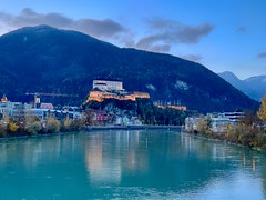 Kufstein fortress and river Inn at morning in Tyrol, Austria (UweBKK (α 77 on )) Tags: österreich tyrol tirol austria europe europa iphone kufstein fortress river inn stadtberg mountain light water flow morning sunrise sun sky blue early reflection