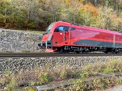 ÖBB railjet express train near Kufstein, Tyrol, Austria (UweBKK (α 77 on )) Tags: öbb österreich tyrol tirol austria europe europa iphone kufstein railjet express train rail railway transport locomotive red
