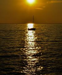 In questo mare da infinite onde io ho la mia (claudiamurro) Tags: sunset sea mare luce lux barca trieste fvg tramonto sole sun yellow