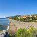Aerial view of Robinson Club Sarigerme Park and its private beach, Turkey