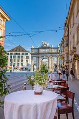 The Triumphal Arch, Innsbruck (mandyhedley) Tags: the triumphal arch thetriumphalarch landscape innsbruck tirol austria structure empress archdukeleopold baroque mariatheresa 18thcentury romaninspired mountains archofantiquity history streetdining restaurant