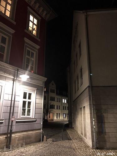 ... narrow alley at night in Meiningen