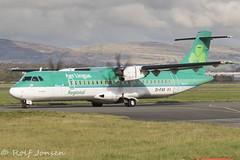 EI-FAV ATR 72-600 Stobart Air Glasgow airport EGPF 18.10-19 (rjonsen) Tags: plane airplane aircraft aviation airliner taxying green airside miotion blur