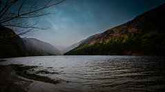 Panoramic view of Glendalough Upper Lake - County Wicklow Ireland (mbell1975) Tags: brockagh countywicklow ireland panoramic view glendalough upper lake county wicklow ie éire eire airlann poblacht na héireann irland irlanda irlande irish europe eu co mountain mountains range water meer national park granite cliffs landscape gleann dá loch contae chill mhantáin cloudy day river fog foggy misty pano paysage vista panorama