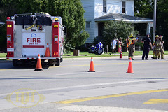 C-K Fire - MVC, Park Ave. W. & Lacroix St, Chatham, 08/05/2016 (Hooks & Halligans) Tags: chathamkent chatham kent ck ont ontario canada fire service services dept department ckfes mvc motor vehicle collision accident mva crash wreck carvsmotorcycle motorcycle