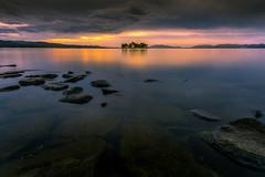 sunset 1244 (junjiaoyama) Tags: japan sunset sky light cloud weather landscape orange yellow color lake island water nature autumn fall reflection calm dusk serene rock
