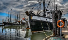 Fishing boats and Company - HDR (Christie : Colour & Light Collection) Tags: steveston boats vessels dock pier wharf fraserriver moody cloudy cloudworks reflections reflection waterreflections river harbour harbor richmond britishcolumbia canada outdoors fishing fishingharbour waer moored hdr dramatic drama weater straitofgeorgia fishingvillage nikkor nikon fishingboats stevestondocks