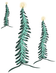 Christmas Trees a Glow (faeDESIGN) Tags: spoonflower roosteryhomedecor christmas trees winter fabric sewing seamstress diy crafts wallpaper giftwrap