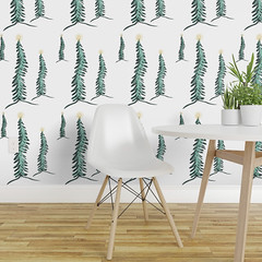 Christmas Trees a Glow on wallpaper (faeDESIGN) Tags: spoonflower roosteryhomedecor christmas trees winter fabric sewing seamstress diy crafts wallpaper giftwrap