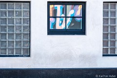 Three Windows, Colorful Reflection (www.karltonhuberphotography.com) Tags: 2019 building california citystreets color glassblockwindows karltonhuber pattern reflection santaana shapes streetphotography urban wall windows