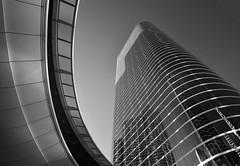 Former Enron Building (infrared) (dr_marvel) Tags: ir infrared blackandwhite monochrome enron former building chevron offices houston tx texas architecture reflections curves glass stripes upward skyward skyscraper urban downtown
