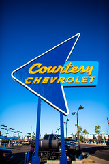 Courtesy Chevrolet (Thomas Hawk) Tags: america arizona chevrolet courtesychevrolet phoenix us usa unitedstates unitedstatesofamerica blue cardealership neon fav10 fav25 fav50 fav100 chevy