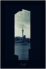 Framed (cjhall.nz) Tags: road beach sulphur framedinnz streetphotography landscape negativespace city silhouette water sea tamron70200 canonr newzealand monochrome bw bnw architecture blackandwhite northshore point northcote skytower bridge harbour auckland