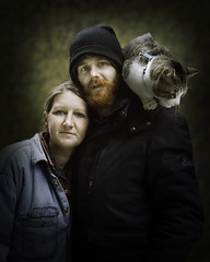 Caleb, Mandy, and Napoleon (mckenziemedia) Tags: portrait portraiture couple love family cat hat stockingcap people humanity homeless homelessness chicago city urban street streetphotography